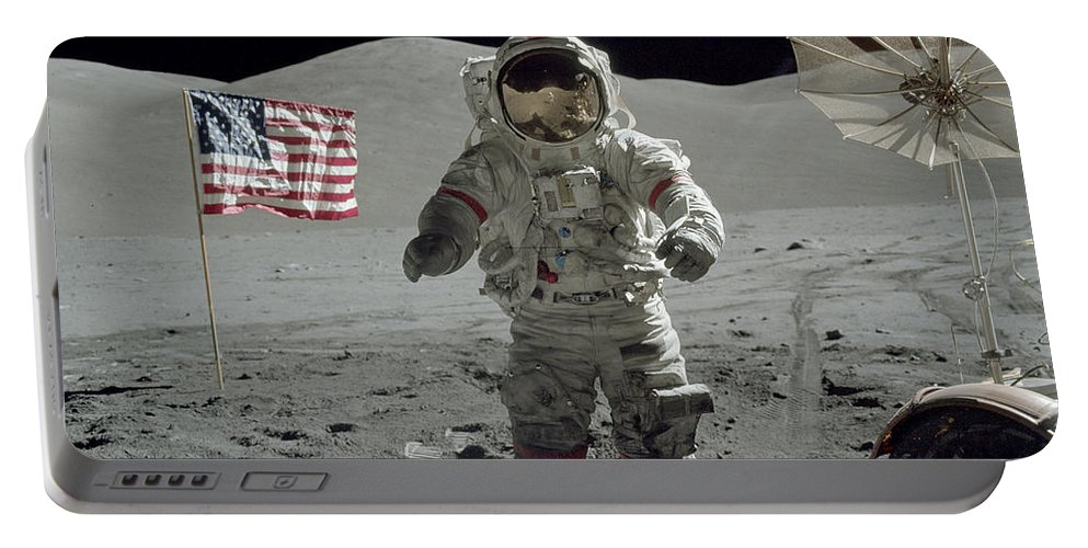 1972 Portable Battery Charger featuring the photograph Apollo 17 Astronaut Stands by Stocktrek Images