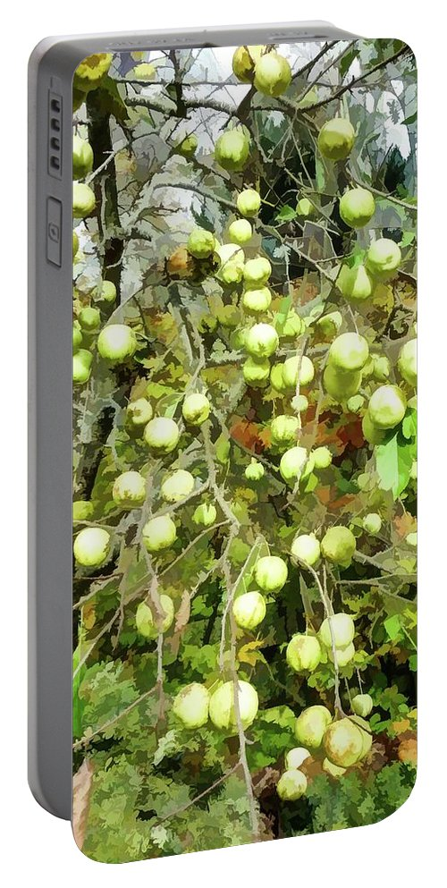 Red Apples On Apple Tree Portable Battery Charger featuring the painting Apple Tree by Jeelan Clark