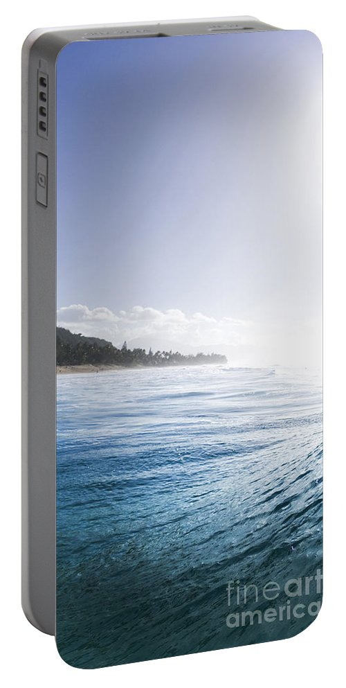 Wave Portable Battery Charger featuring the photograph Aqua Ramp - Triptych Part 2 Of 3. by Sean Davey