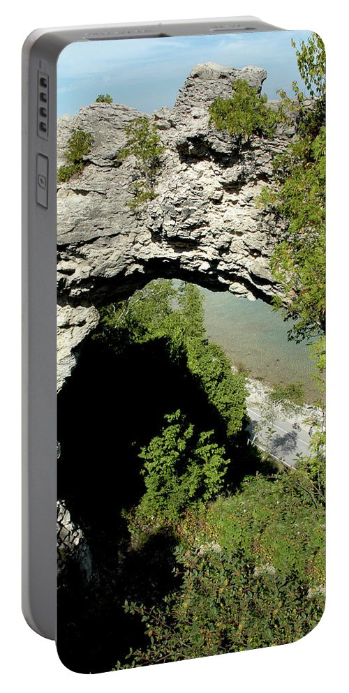 Usa Portable Battery Charger featuring the photograph Arch Rock Mackinac Island by LeeAnn McLaneGoetz McLaneGoetzStudioLLCcom