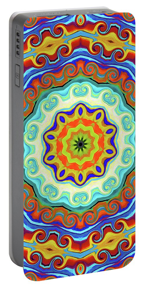 Mandala Art Portable Battery Charger featuring the painting Art by Jeelan Clark