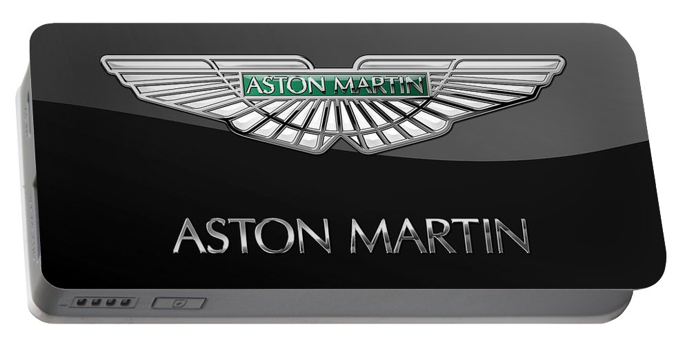 'wheels Of Fortune� Collection By Serge Averbukh Portable Battery Charger featuring the photograph Aston Martin 3 D Badge on Black by Serge Averbukh