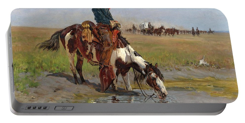 Richard Lorenz Portable Battery Charger featuring the painting At The Watering Hole by Richard Lorenz