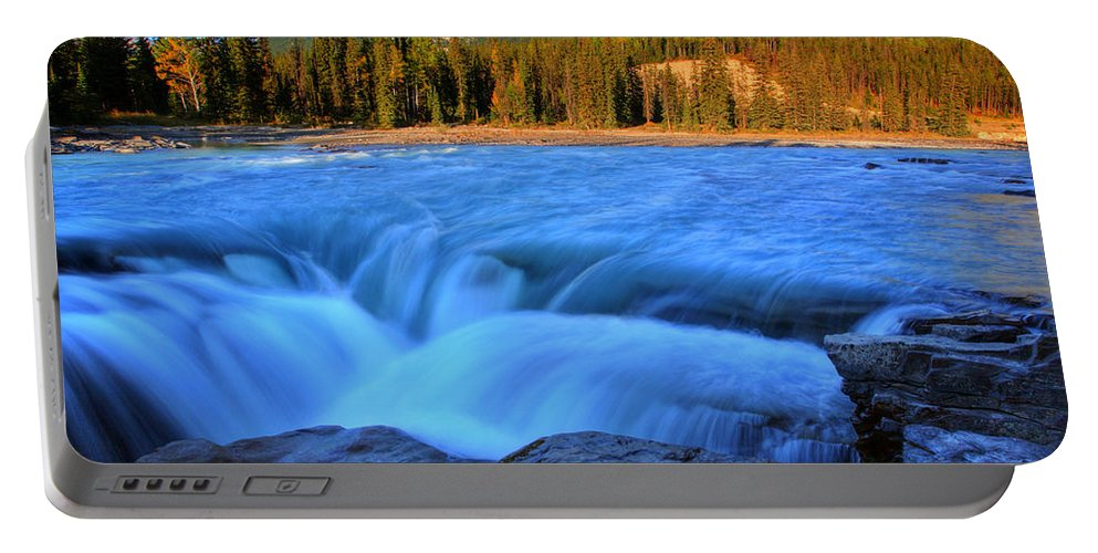 Athabasca River Portable Battery Charger featuring the digital art Athabasca Falls In Jasper National Park by Mark Duffy
