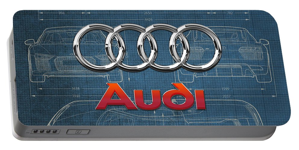 �wheels Of Fortune� Collection By Serge Averbukh Portable Battery Charger featuring the photograph Audi 3 D Badge over 2016 Audi R 8 Blueprint by Serge Averbukh