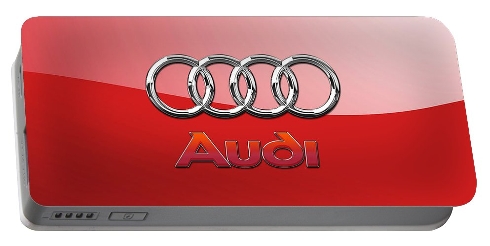 Wheels Of Fortune By Serge Averbukh Portable Battery Charger featuring the photograph Audi - 3d Badge On Red by Serge Averbukh