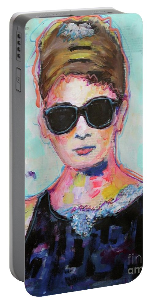 Audrey Hepburn Portable Battery Charger featuring the painting Audrey Hepburn by Venus