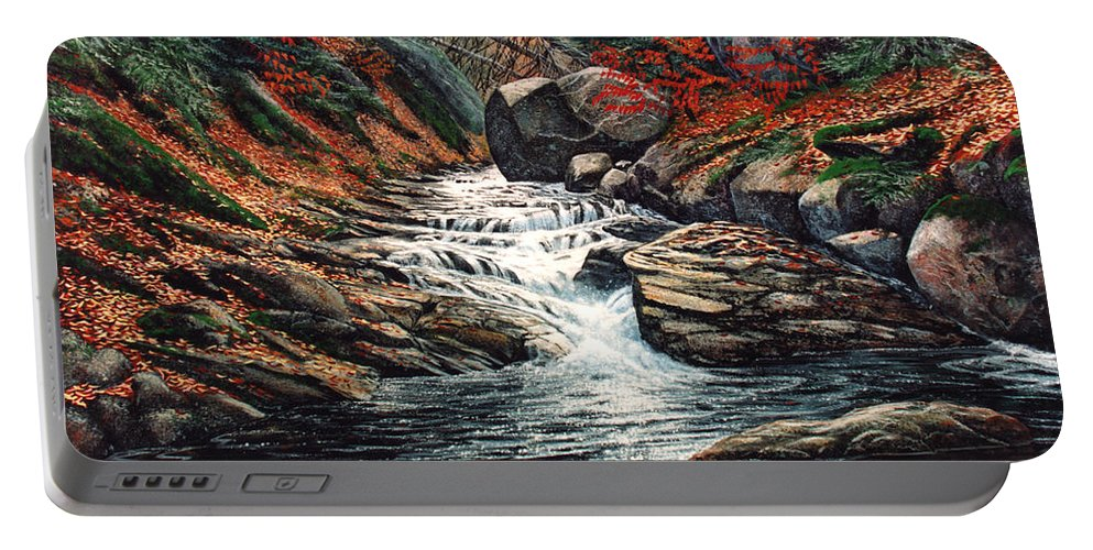 Landscape Portable Battery Charger featuring the painting Autumn Brook by Frank Wilson