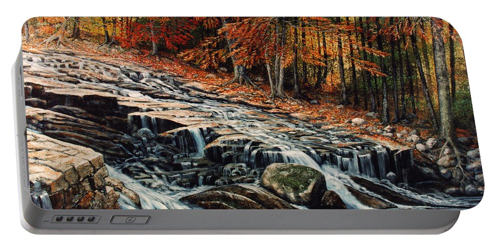 Landscape Portable Battery Charger featuring the painting Autumn Cascade by Frank Wilson
