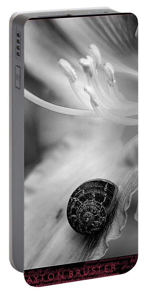 Clay Portable Battery Charger featuring the photograph B And White Floral With Snail by Clayton Bruster