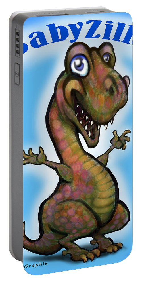 Babyzilla Portable Battery Charger featuring the greeting card Babyzilla by Kevin Middleton