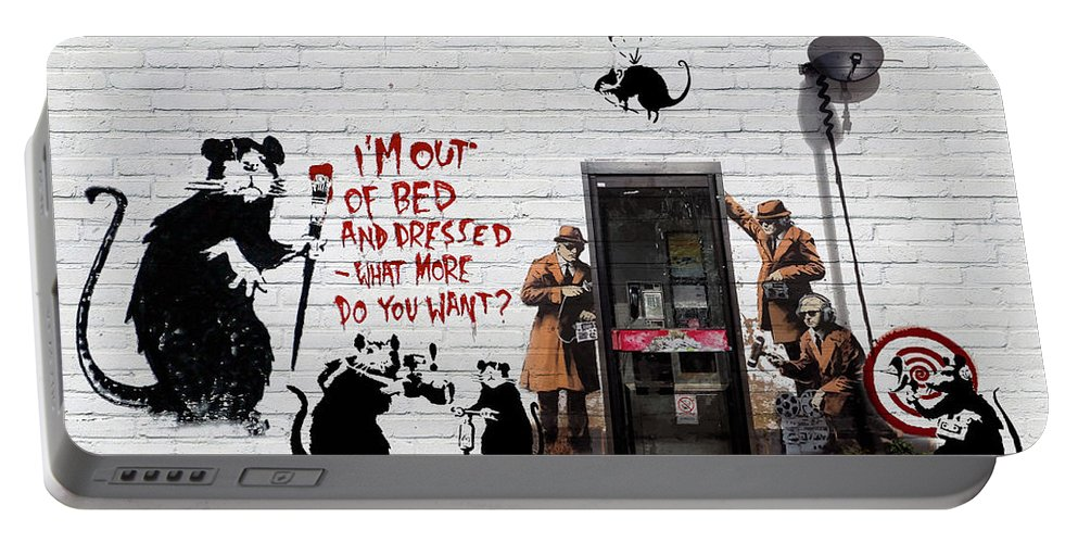 �urban Graffiti� Collection By Serge Averbukh Portable Battery Charger featuring the photograph Banksy - The Tribute - Rats by Serge Averbukh