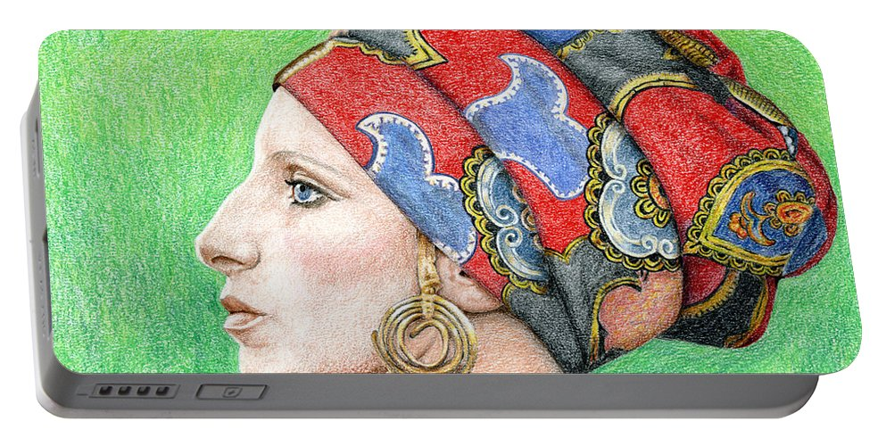 Singer Portable Battery Charger featuring the drawing Barbra Streisand by Rob De Vries