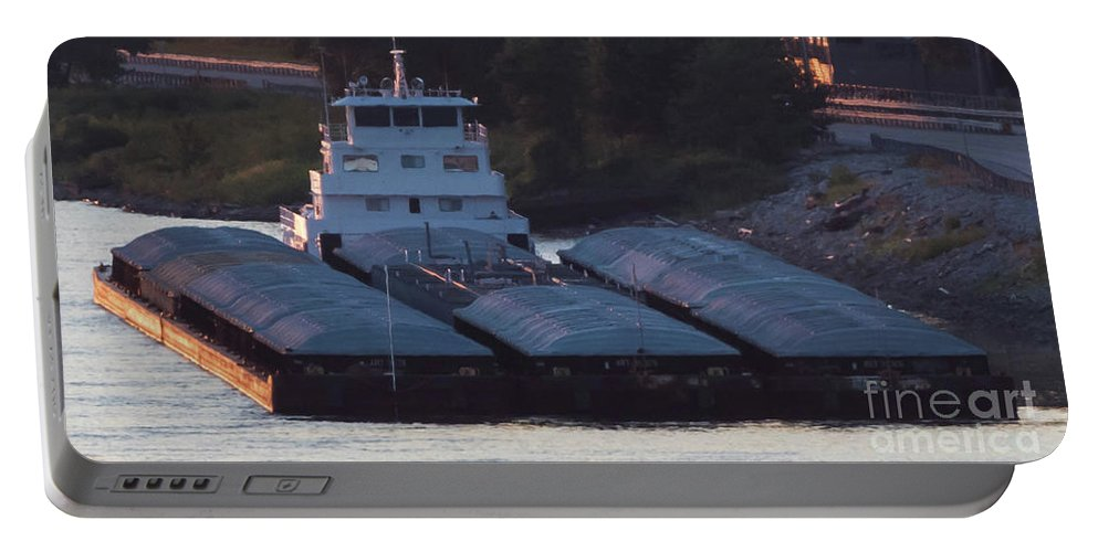 Barges Portable Battery Charger featuring the photograph Barge On Mississippi River by Brenda Gray