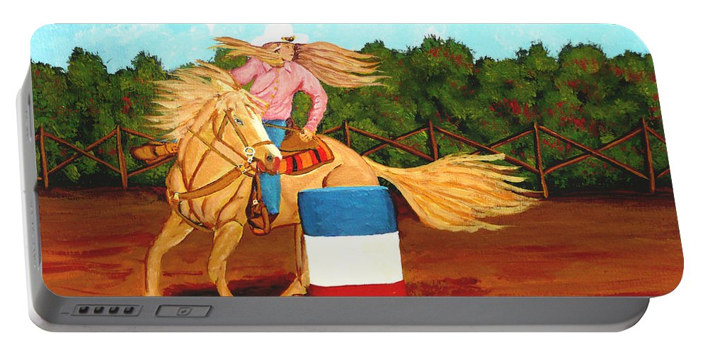 Rodeo Portable Battery Charger featuring the painting Barrel Racer by Anthony Dunphy