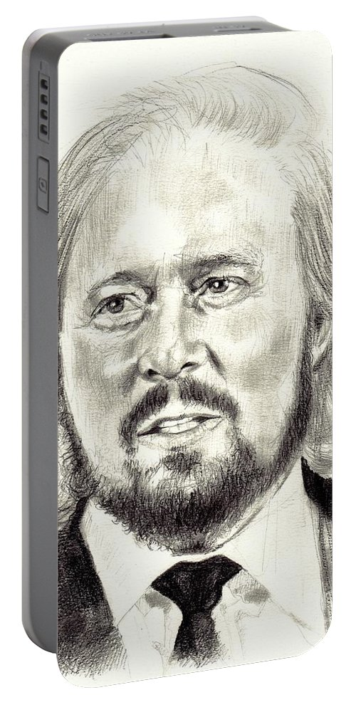 Barry Gibb Portable Battery Charger featuring the drawing Barry Gibb Portrait by Suzann Sines