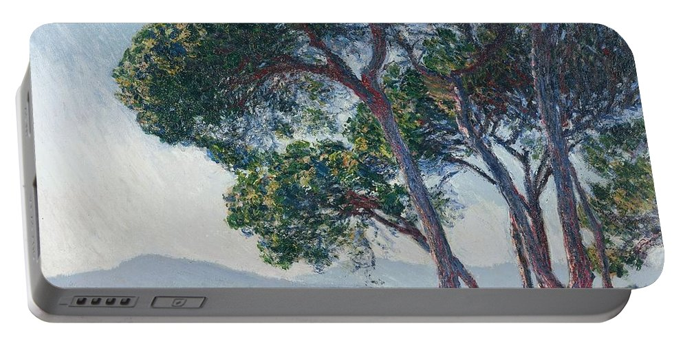 Claude Monet - Beach Of Juan-les-pins - 1888. River Portable Battery Charger featuring the painting Beach Of Juan Les Pins by Claude Monet