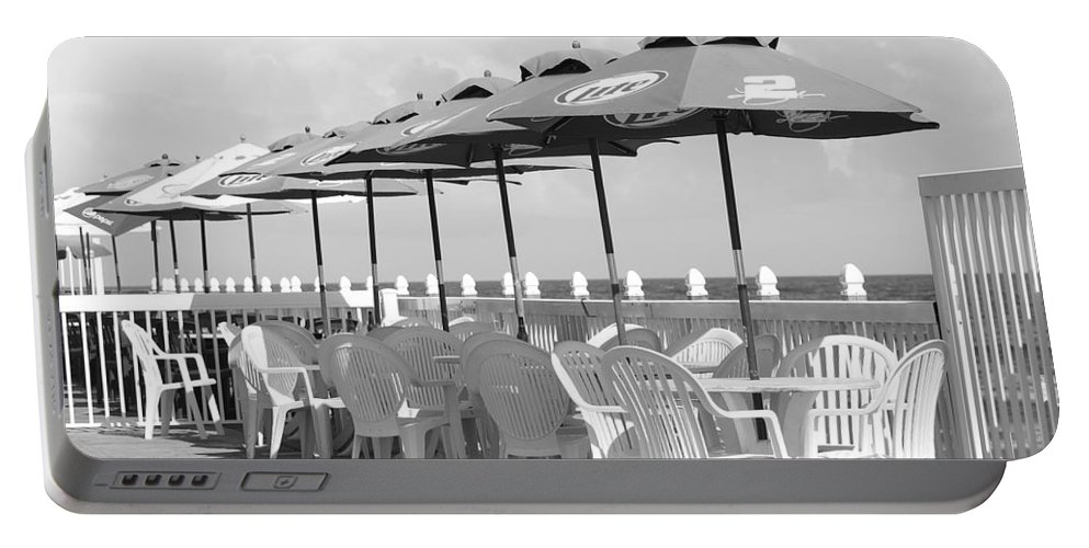 Black And White Portable Battery Charger featuring the photograph Beer Unbrellas by Rob Hans