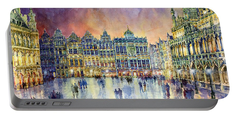 Watercolor Portable Battery Charger featuring the painting Belgium Brussel Grand Place Grote Markt by Yuriy Shevchuk
