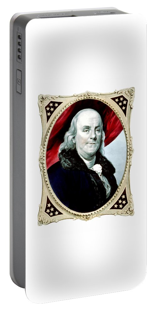 Benjamin Franklin Portable Battery Charger featuring the painting Ben Franklin - Two by War Is Hell Store