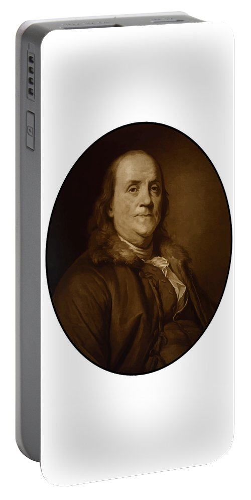 Benjamin Franklin Portable Battery Charger featuring the painting Benjamin Franklin - Three by War Is Hell Store