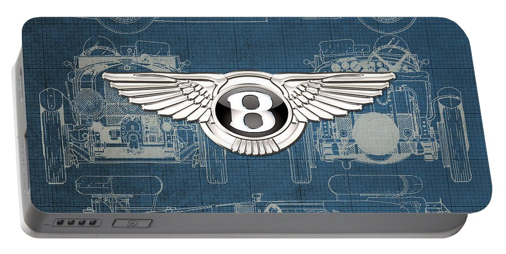 �wheels Of Fortune� By Serge Averbukh Portable Battery Charger featuring the photograph Bentley - 3 D Badge over 1930 Bentley 4.5 Liter Blower Vintage Blueprint by Serge Averbukh