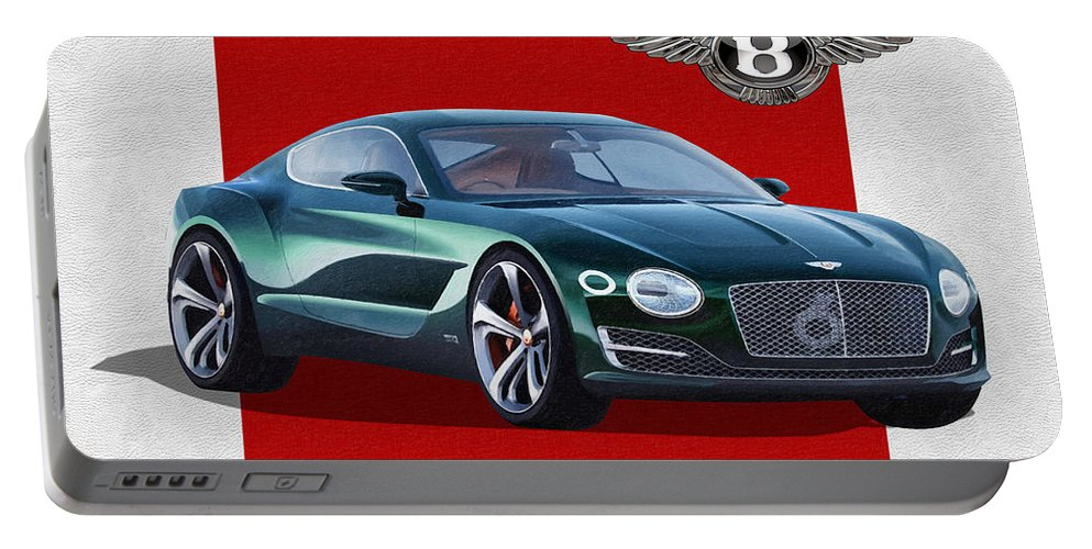 �bentley� Collection By Serge Averbukh Portable Battery Charger featuring the photograph Bentley E X P 10 Speed 6 with 3 D Badge by Serge Averbukh