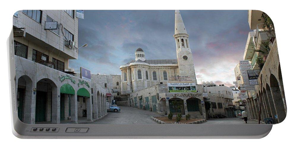 Bethlehem Portable Battery Charger featuring the photograph Bethlehem - Al Madbasa Street by Munir Alawi