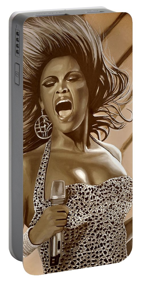Beyonce Portable Battery Charger featuring the mixed media Beyonce by Meijering Manupix