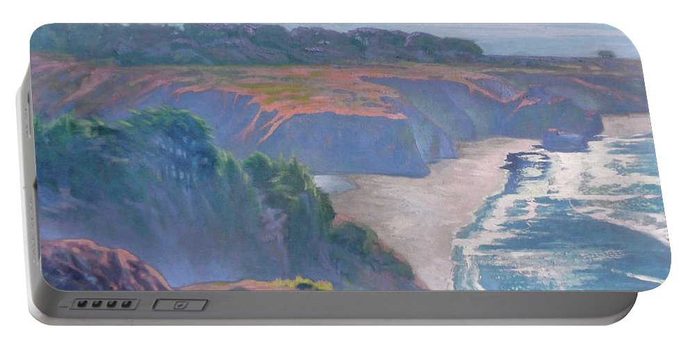 Big Sur Portable Battery Charger featuring the painting Big Sur Coast by Sharon Weaver