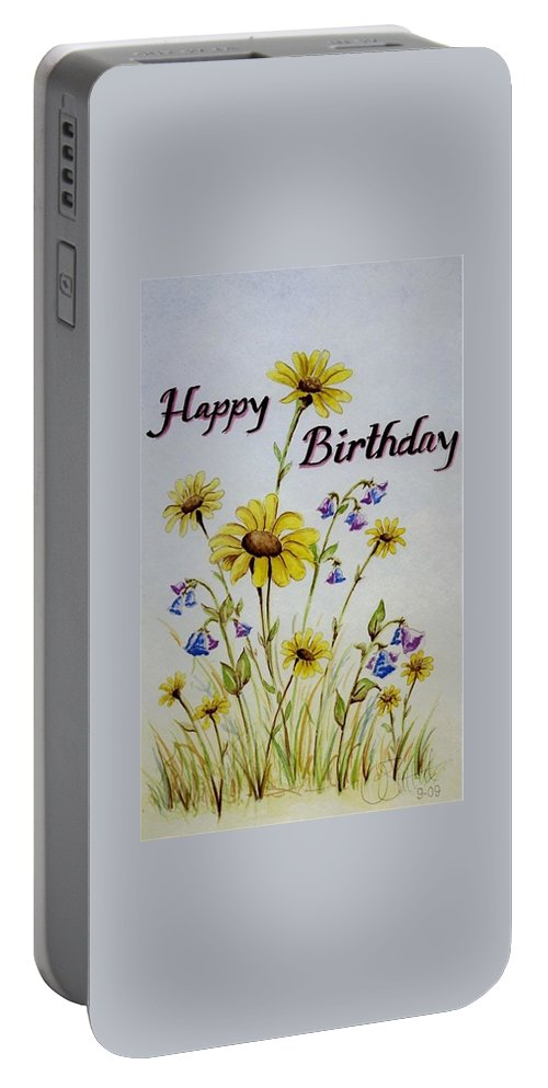 Card Portable Battery Charger featuring the painting Birthday Card by Jimmy Smith