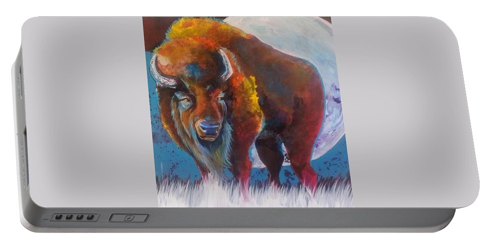 Bison Portable Battery Charger featuring the painting Bison Moon by Cassie Chapin