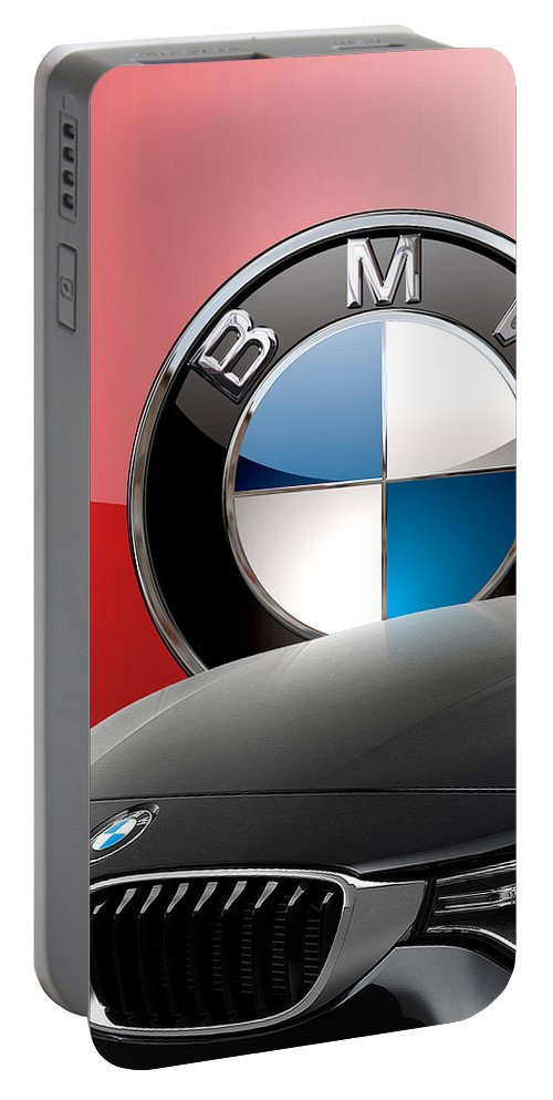 �auto Badges� Collection By Serge Averbukh Portable Battery Charger featuring the photograph Black B M W - Front Grill Ornament And 3 D Badge On Red by Serge Averbukh