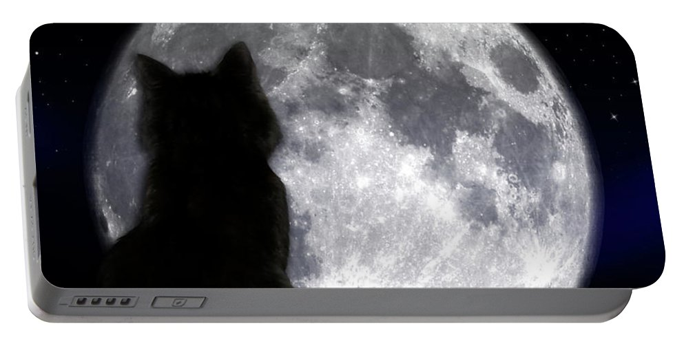 Halloween Portable Battery Charger featuring the photograph Black Cat And Full Moon by Nina Ficur Feenan