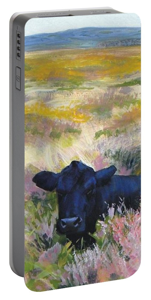 Dartmoor Portable Battery Charger featuring the painting Black Cow Dartmoor by Mike Jory