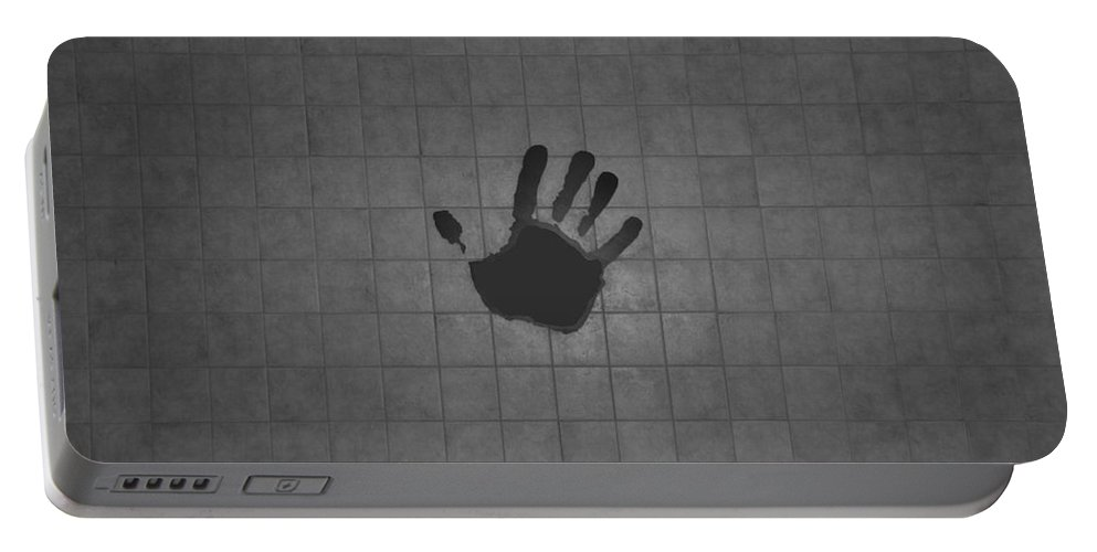 Hand Print Portable Battery Charger featuring the photograph Black Hand by Rob Hans
