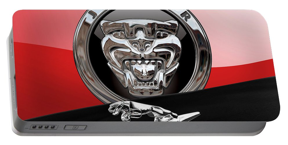 'auto Badges' Collection By Serge Averbukh Portable Battery Charger featuring the photograph Black Jaguar - Hood Ornaments And 3 D Badge On Red by Serge Averbukh
