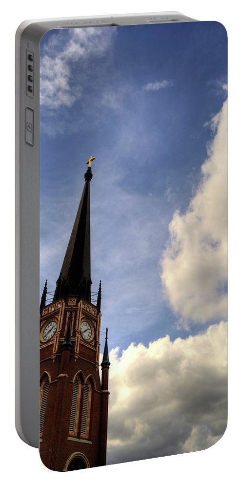 Royal Portable Battery Charger featuring the photograph Black Steeple by FineArtRoyal Joshua Mimbs