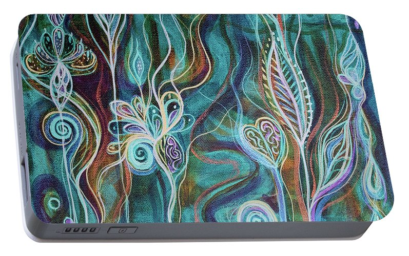 Intuitive Art Portable Battery Charger featuring the painting Bling Bling by Angel Fritz