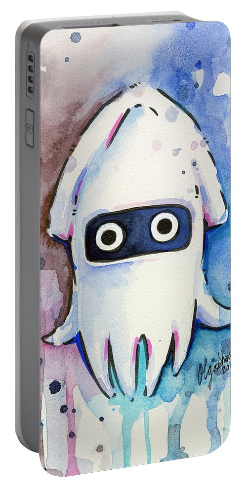 Blooper Portable Battery Charger featuring the painting Blooper Watercolor by Olga Shvartsur