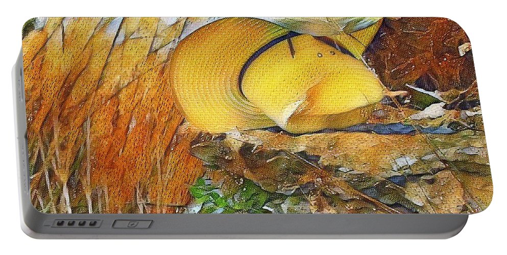 Straw Hat Portable Battery Charger featuring the digital art Blown Away by Ellen Cannon