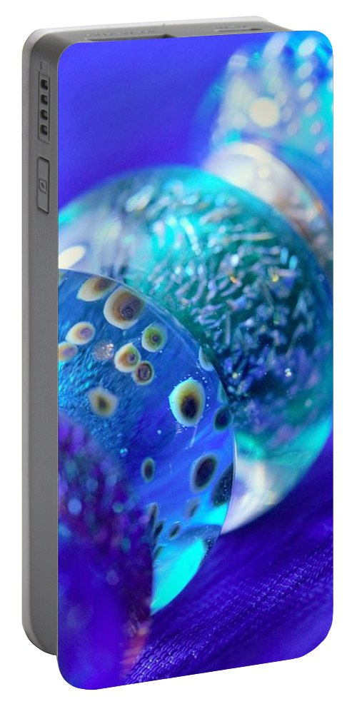 Blue Portable Battery Charger featuring the photograph Blue Beads 2 by Mo Barton