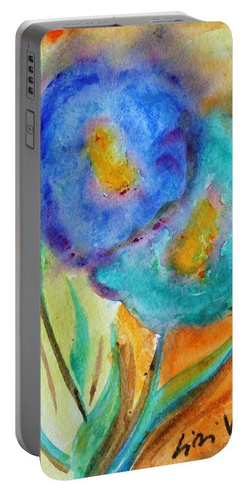 Flowers Portable Battery Charger featuring the painting Blue Flowers by Luiza Vizoli
