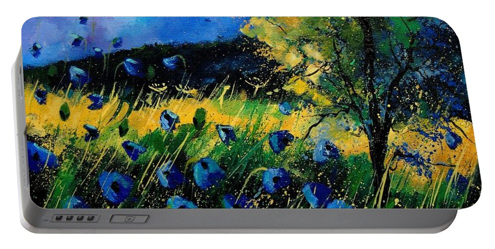 Poppies Portable Battery Charger featuring the painting Blue Poppies by Pol Ledent