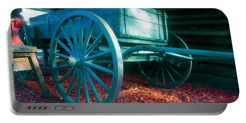 Blue Portable Battery Charger featuring the photograph Blue Wagon by David Lee Thompson