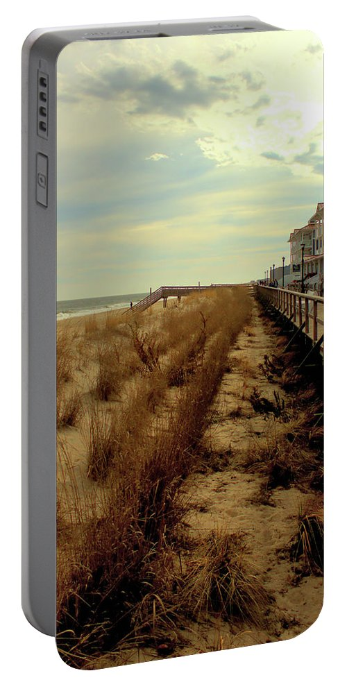 Dunes Portable Battery Charger featuring the photograph Boardwalk In Winter by Robert McCulloch