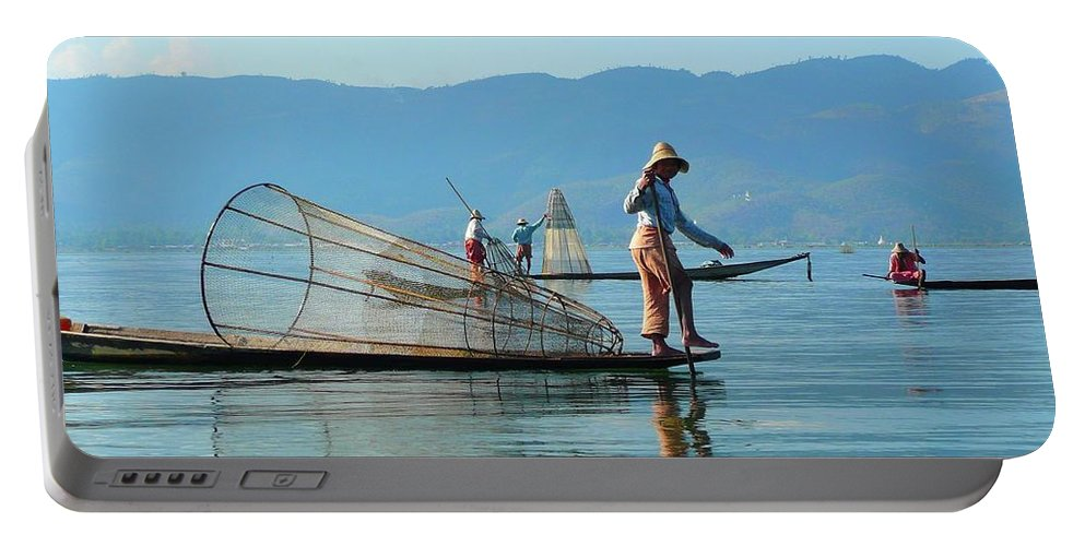 Boatmen Portable Battery Charger featuring the photograph Boatmen On Inle Lake by Blas Munoz