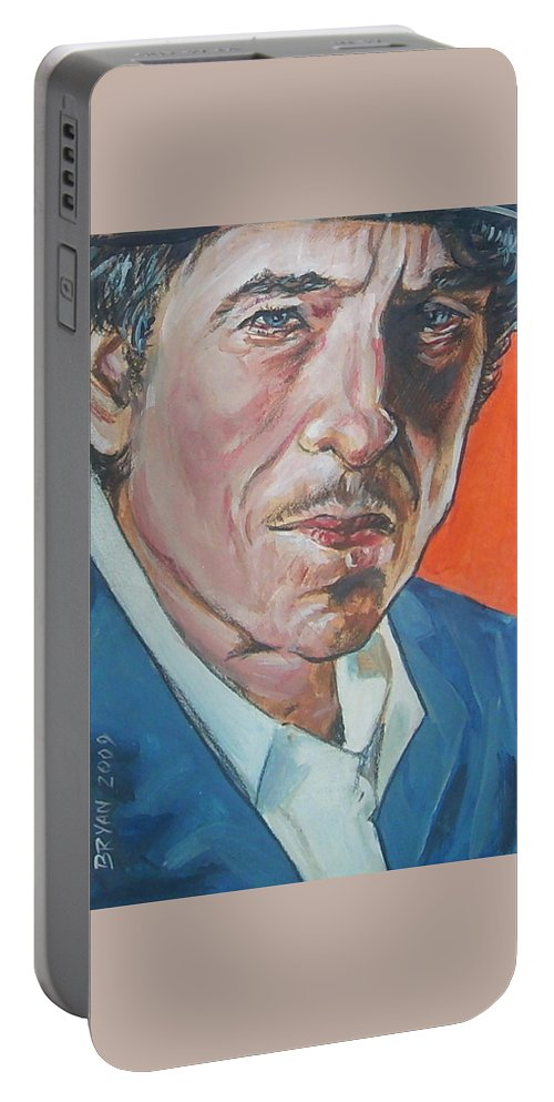 Bob Dylan Portable Battery Charger featuring the painting Bob Dylan by Bryan Bustard