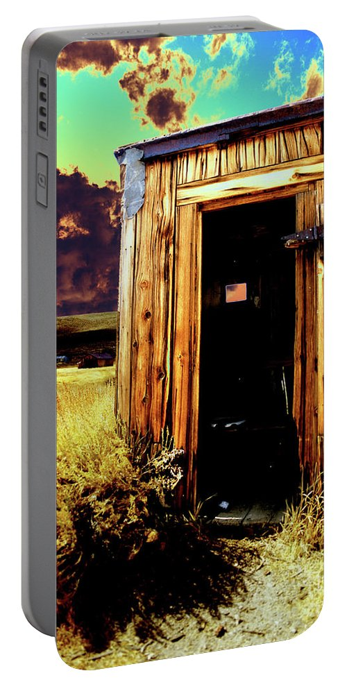 Bodie Portable Battery Charger featuring the photograph Bodie Outhouse by Jim And Emily Bush