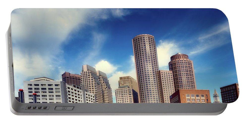 Boston Portable Battery Charger featuring the photograph Boston Skyline 1980s by Mountain Dreams
